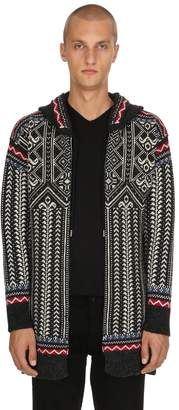 Diesel Black Gold Hooded Wool Knit Jacquard Cardigan