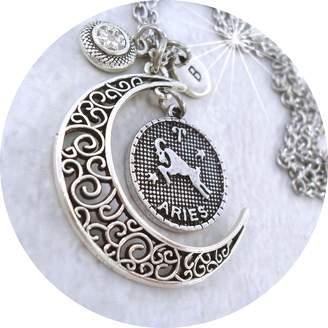 Swarovski grOOvy empOrium April Aries Zodiac Filigree Crescent Moon Necklace w-Clear Birthstone Crystal & Letter Charm