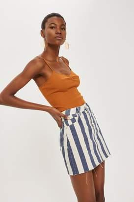 Topshop Striped Denim Skirt