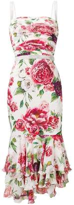 Dolce & Gabbana peony print ruffled dress