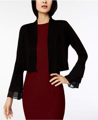 Calvin Klein Tiered-Sleeve Chiffon-Contrast Cardigan