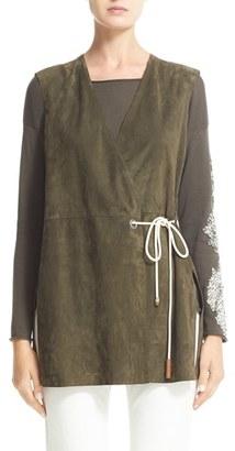 Women's Fabiana Filippi Front Tie Suede Vest $1,655 thestylecure.com