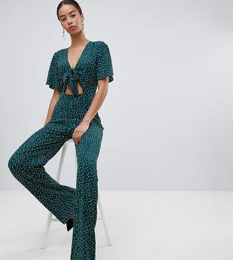 cd122868983 Fashion Union Tall tall plunge front jumpsuit in polka dot