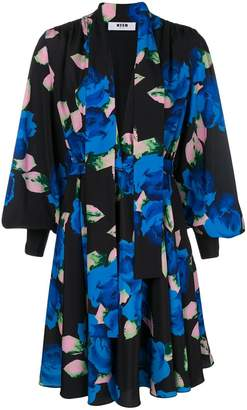 MSGM floral printed long full-sleeved dress
