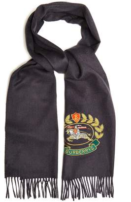 Burberry Logo crest-embroidered cashmere scarf