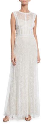 Tadashi Shoji Bateau-Neck Sleeveless Lace A-Line Gown
