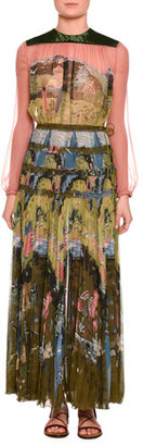 Valentino Garden of Delight Printed Long-Sleeve Gown, Multi $9,980 thestylecure.com