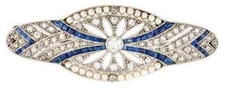 Art Deco Platinum Pearl, Sapphire, & Diamond Brooch
