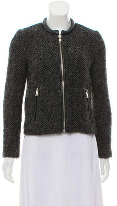 The Kooples Leather Accented Wool and Mohair Jacket