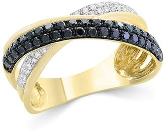 Bloomingdale's Black & White Diamond Crossover Ring in 14K Yellow Gold - 100% Exclusive