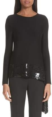 Oscar de la Renta Sequin Drape Sweater