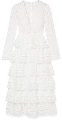 Zimmermann Bayou Tiered Broderie Anglaise Cotton Maxi Dress - White