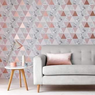 At Debenhams Graham Brown Rose Gold Reflections Geometric Wallpaper