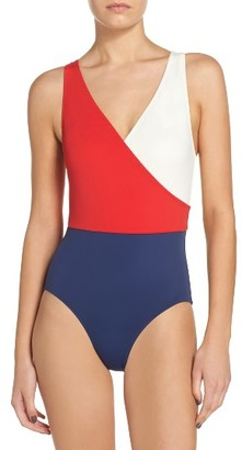 Women's Solid & Striped Ballerina One-Piece Swimsuit $158 thestylecure.com