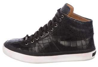 Jimmy Choo Belgravi Embossed Leather High-Top Sneakers