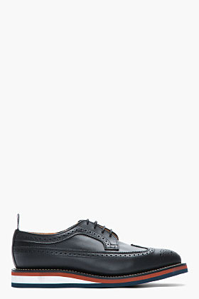 Thom Browne Black waxy leather longwing brogues