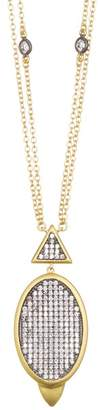 Freida Rothman 14K Gold Plated Sterling Silver CZ Contemporary Deco Pendant Necklace