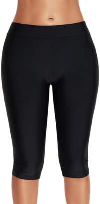 Yacun Women Swim Shorts Sport Swimsuit Bottom Skinny Capris Shorts 3XL