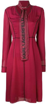 Karl Lagerfeld logo bow flared dress