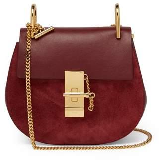 Chloé Drew Mini Suede And Leather Cross Body Bag - Womens - Burgundy