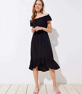 LOFT Petite Off The Shoulder Button Down Midi Dress