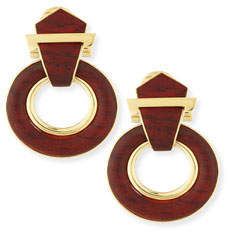 David Webb 18k Gold Bloodwood Doorknocker Earrings