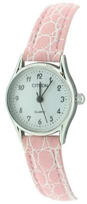 Citron Ladies Quartz Watch ASL125/A With White Dial And Pink Strap