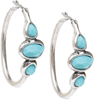 """Lucky Brand Silver-Tone Turquoise 1"""" Hoops Earrings"""