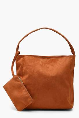 boohoo Suedette Slouch Daybag With Purse