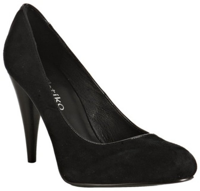Matiko black suede 'Fritz' patent trim pumps