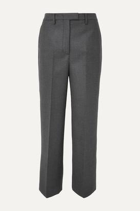 Prada Checked Virgin Wool-blend Straight-leg Pants - Gray
