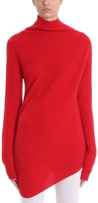 Jil Sander Red Wool And Cashmere Blend Twisted Knit Jumper