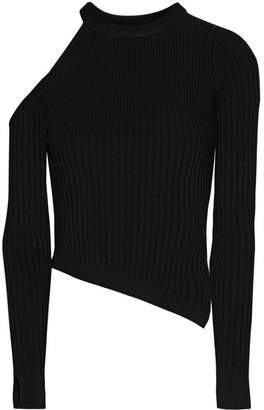 Renee Cold-shoulder Ribbed Stretch-knit Top - Black