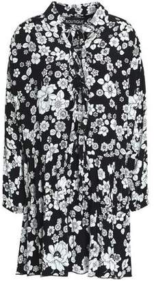 Moschino Pussy-Bow Floral-Print Woven Mini Dress