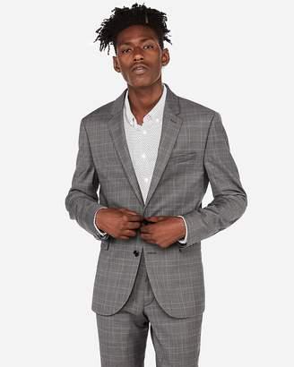 Express Extra Slim Plaid Wool-Blend Stretch Suit Jacket