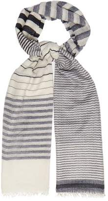 Co Begg & Staffa Yacht Striped Cashmere And Silk Scarf - Mens - Navy