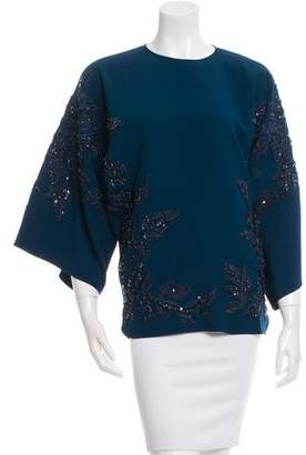 Elie Saab Sequin-Embellished Embroidered Top w/ Tags