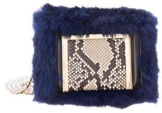 Jimmy Choo Snakeskin-Trimmed Fur Ava Bag Blue Snakeskin-Trimmed Fur Ava Bag