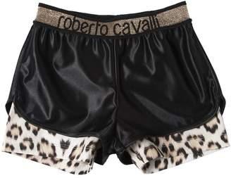 Roberto Cavalli Acetate & Leo Print Cotton Jersey Shorts