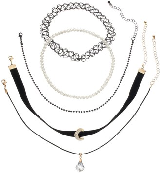 Mudd Moon, Briolette & Tattoo Choker Necklace Set