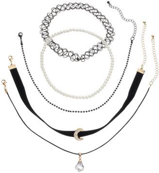 Mudd Moon, Briolette & Tattoo Choker Necklace Set