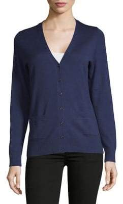 Lord & Taylor Petite V-Neck Basic Merino Wool Cardigan
