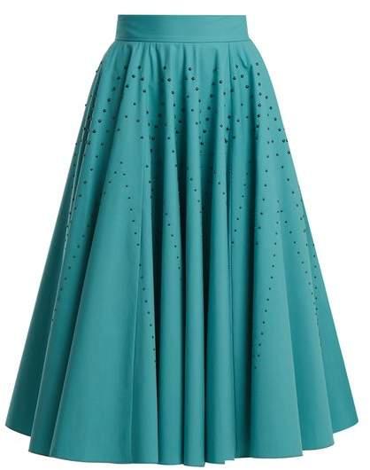 Studded A-line cotton-poplin skirt