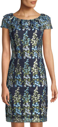 Karl Lagerfeld Paris Floral-Embroidered Cap-Sleeve Sheath Dress