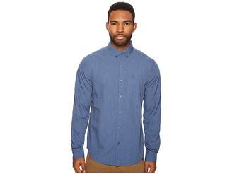 Original Penguin Long Sleeve Heathered Stretch Cotton Shirt Men's Long Sleeve Button Up