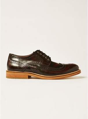 Topman Mens Red Burgundy Leather Royal Brogue Shoes