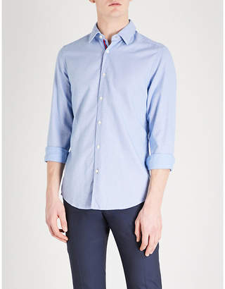 BOSS Square pattern slim-fit cotton shirt