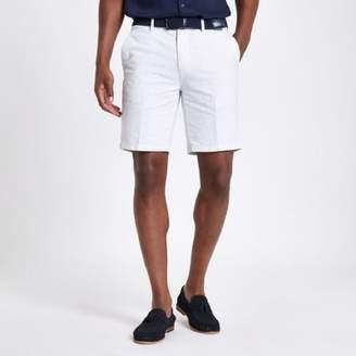 River Island Mens White stripe belt detail slim fit shorts
