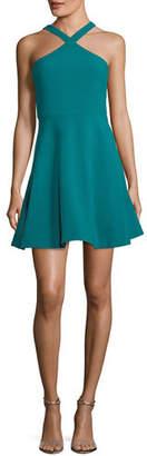 LIKELY Ashland Halter Sleeveless Fit-and-Flare Short Dress