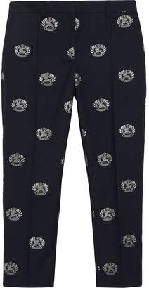 Burberry Crest Detail Wool Cropped Tailored Trousers